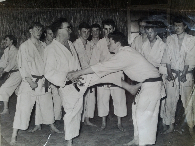 This is Sensei Reg teaching Atemi Jutsu in the early days with is students