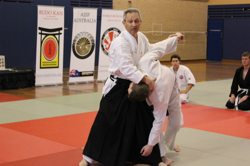 professor-withey-giving-a-demonstration-in-aikido