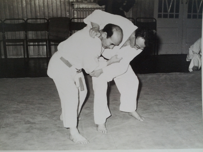 Sensei Kinshiro Abbe with Sensei Reg Bleakman late 1950's training in Judo at Sensei Bleakmans club in Birmingham
